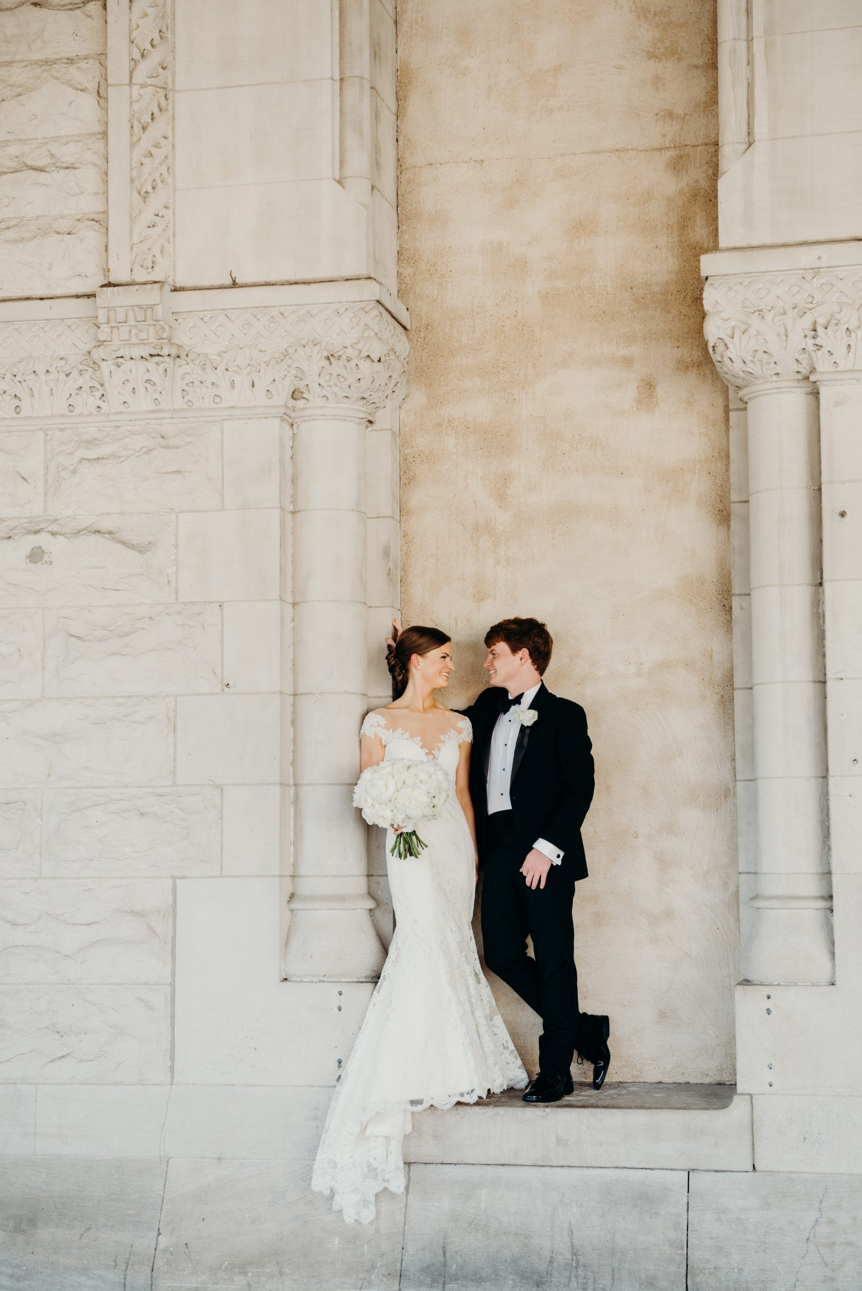 wedding couple posing union station hotel nashville Tennessee