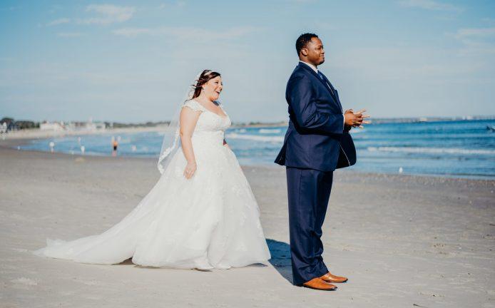 bride and groom first look narragansett town beach rhode island waterfront wedding venues