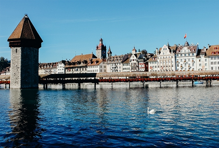sunny day chapel bridge lucerne switzerland