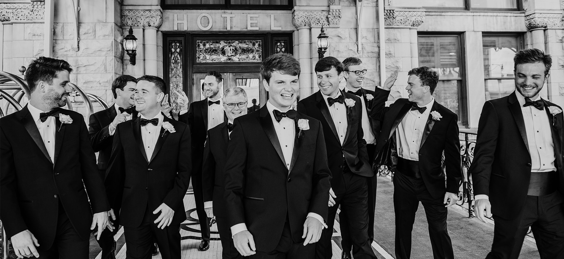 groomsmen laughing union station hotel Nashville Tennessee