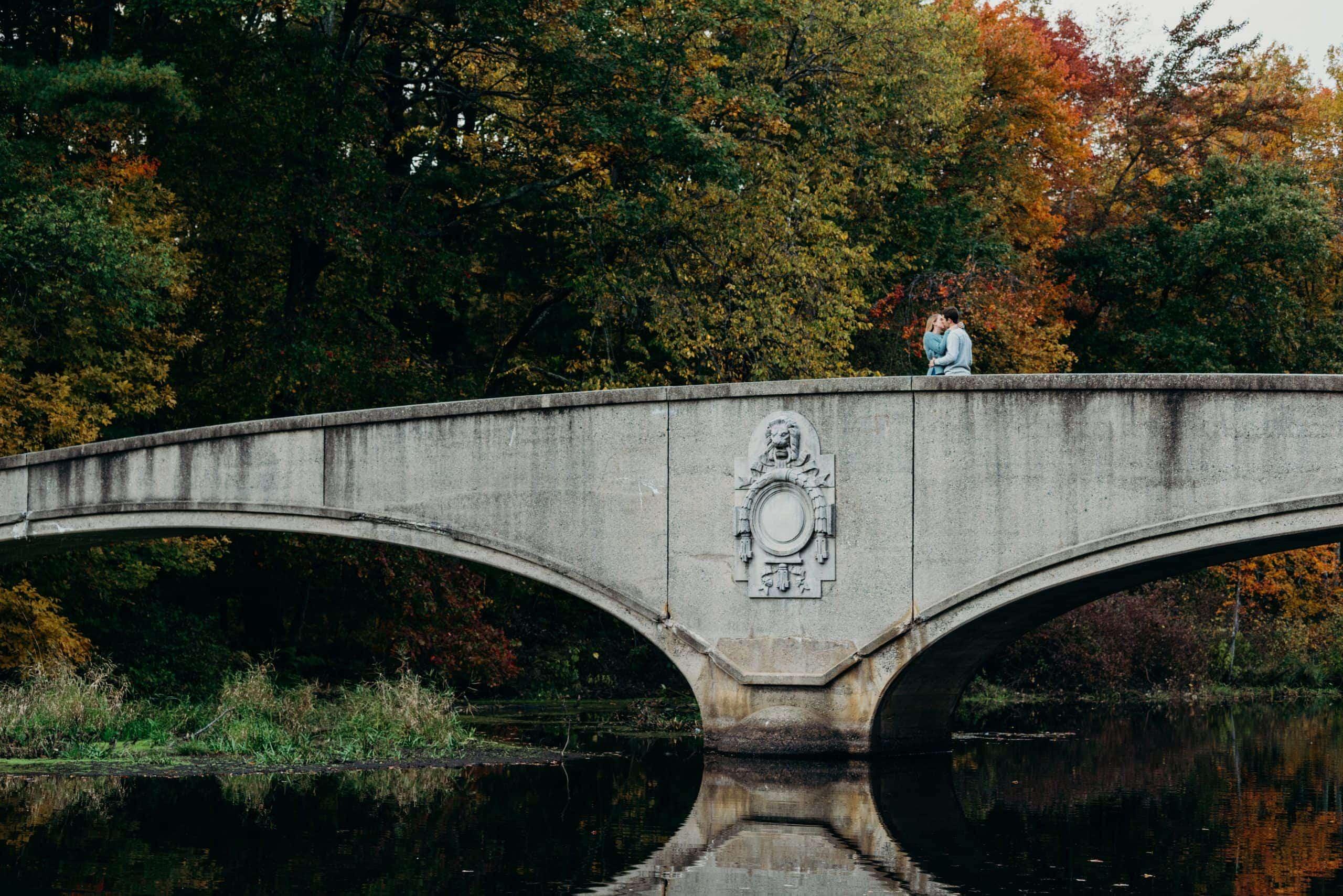 Far away shot of couple kissing on bridge at Wood Park in Hudson