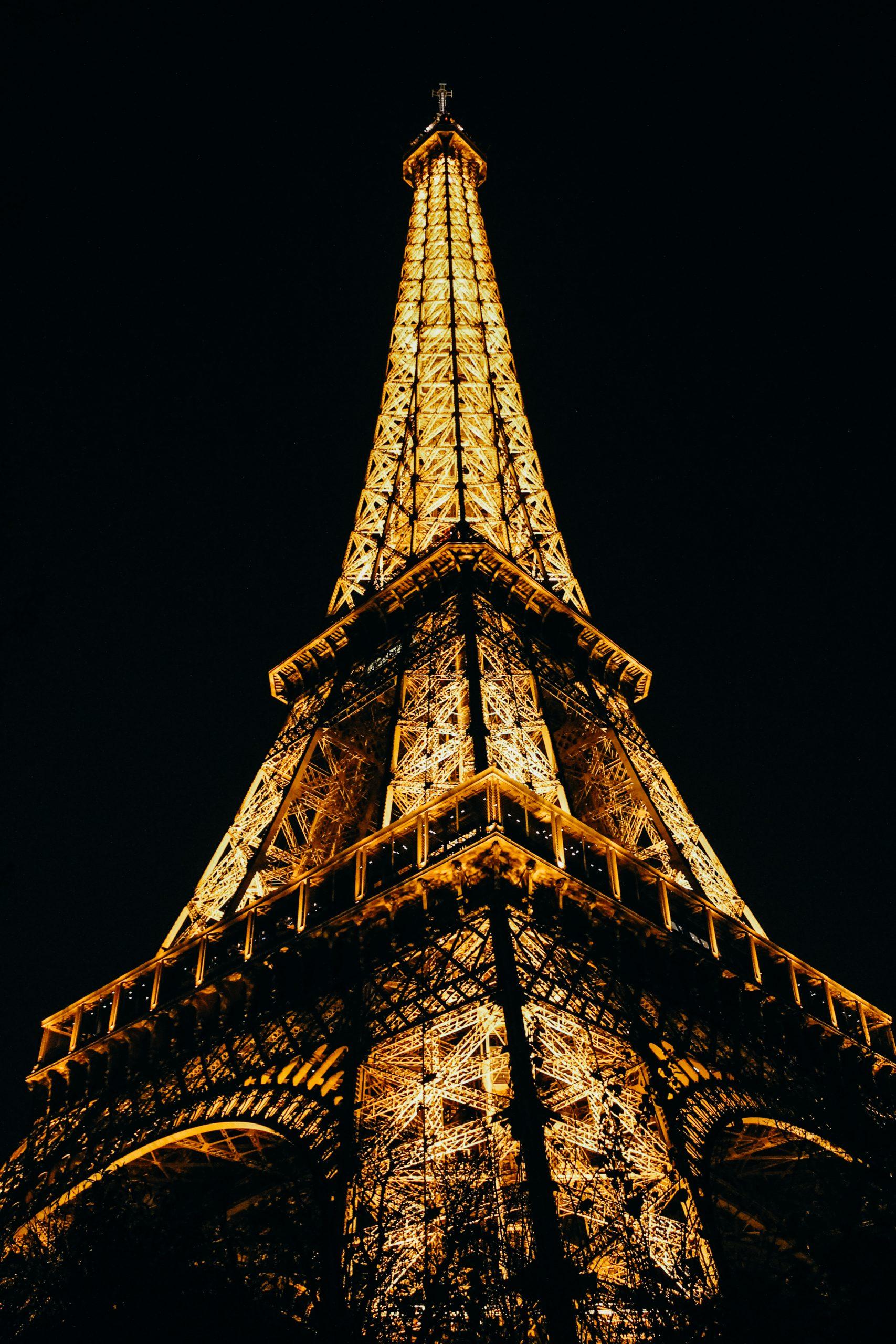 night Eiffel Tower Paris France