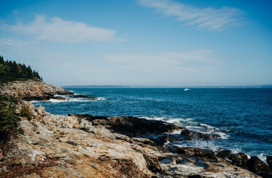 Maine's beautiful rocky coastline in Acadia National Park maine