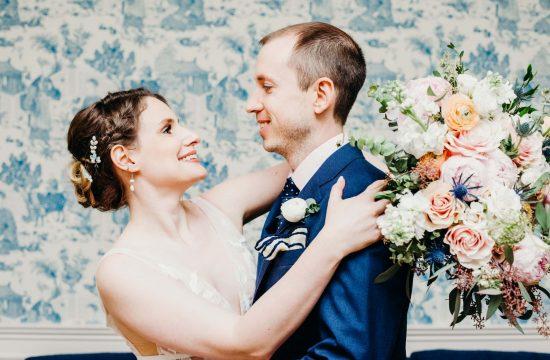 couple smiling at lyman estate wedding venue in waltham